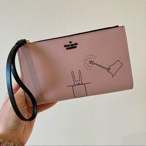 KATE SPADE Wristlet Wallet Clutch Dusty Pink Bunny